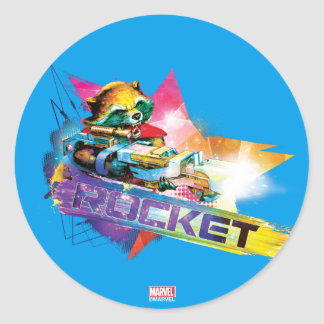 Guardians of the Galaxy | Rocket Neon Graphic Round Sticker