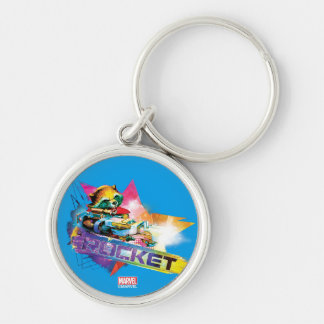 Guardians of the Galaxy | Rocket Neon Graphic Silver-Colored Round Keychain