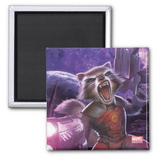 Guardians of the Galaxy | Rocket With Guns Square Magnet
