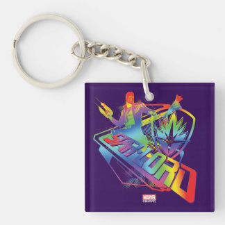Guardians of the Galaxy | Star-Lord Neon Graphic Double-Sided Square Acrylic Keychain