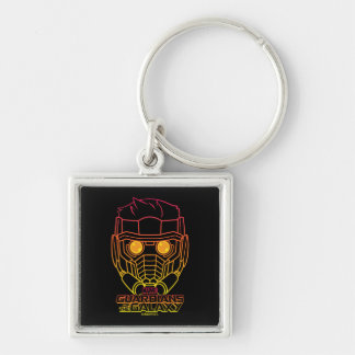 Guardians of the Galaxy | Star-Lord Neon Outline Silver-Colored Square Keychain