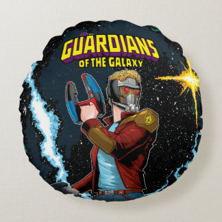 Guardians of the Galaxy   Star-Lord Retro Comic Round Pillow