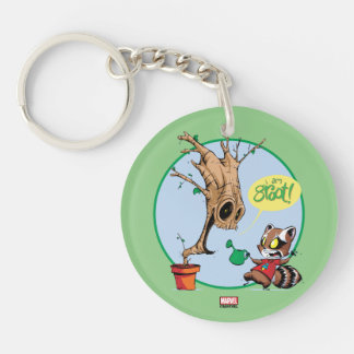 Guardians of the Galaxy | Watering Groot Double-Sided Round Acrylic Keychain