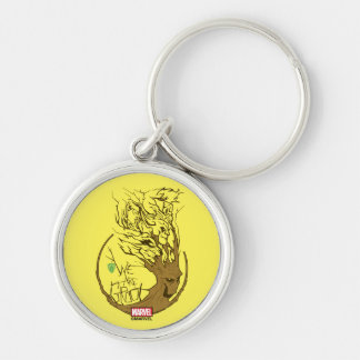 Guardians of the Galaxy | We Are Groot Branches Silver-Colored Round Keychain