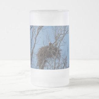 Guarding Eagle Frosted Glass Beer Mug