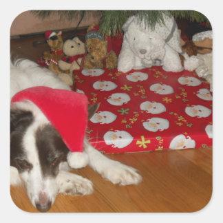 Guarding presents square sticker