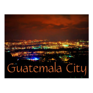 Guatemala City, Guatemala, C.A. at night. Postcard