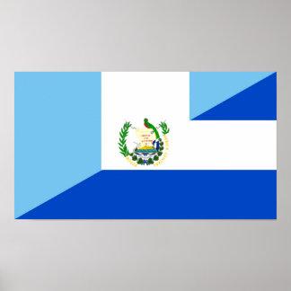 guatemala el salvador half flag country symbol poster