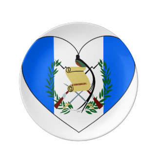 Guatemala Flag Heart Plate