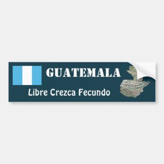 Guatemala Flag + Map Bumper Sticker
