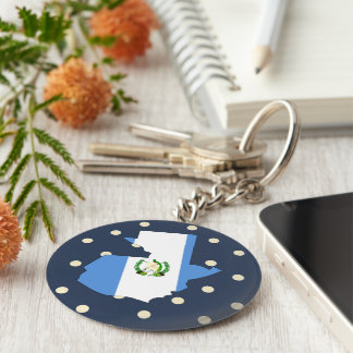 Guatemala Flag Map on Polka Dots Keychain