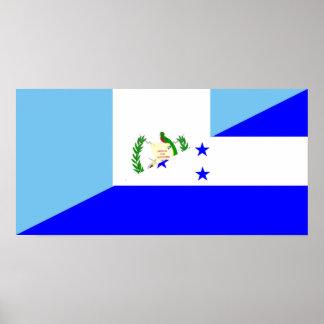 guatemala honduras half flag symbol poster