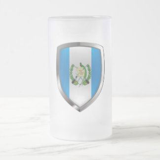 Guatemala Mettalic Emblem Frosted Glass Beer Mug