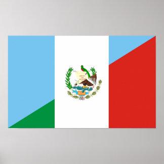 guatemala mexico half flag symbol poster