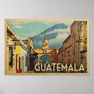 Guatemala Poster Vintage Travel Antigua Art