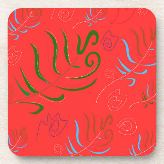 GUATEMALA RED FOLK PATTERN COASTER