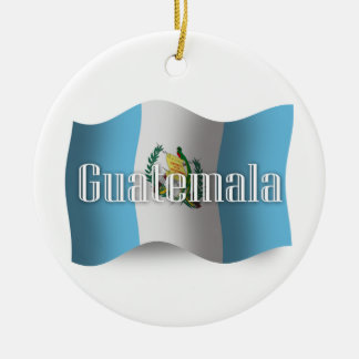 Guatemala Waving Flag Ceramic Ornament
