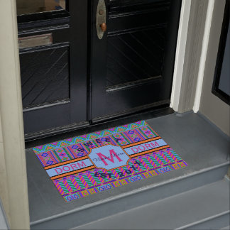 Guatemalan Tribal Monogram Dorm Sweet Dorm Cute Doormat