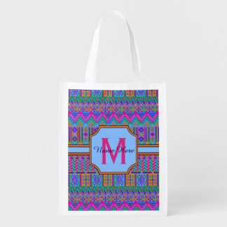 Guatemalan Tribal Monogram Multi-Purpose Girly Reusable Grocery Bag