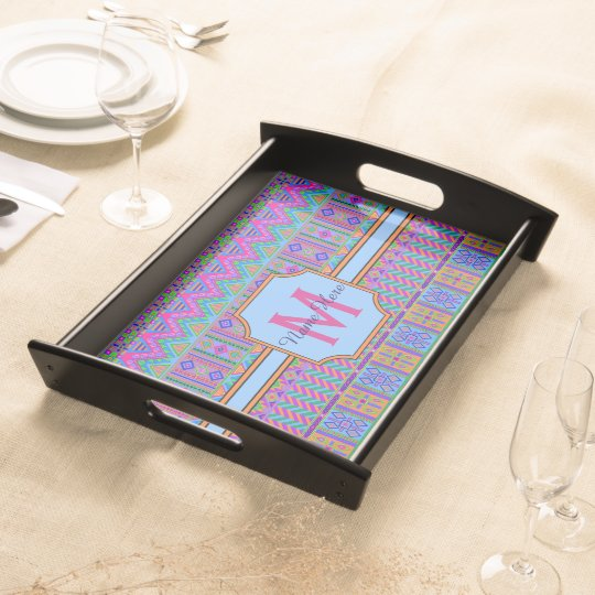 Guatemalan Tribal Monogram Organize Small Spaces Food Tray
