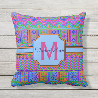 Guatemalan Tribal Monogram Porch Patio Or Pool Throw Pillow