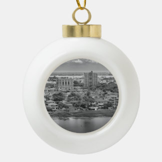 Guayaquil Aerial View from Window Plane Ceramic Ball Ornament