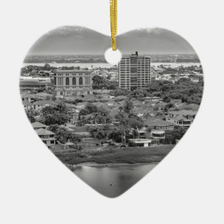 Guayaquil Aerial View from Window Plane Ceramic Heart Ornament