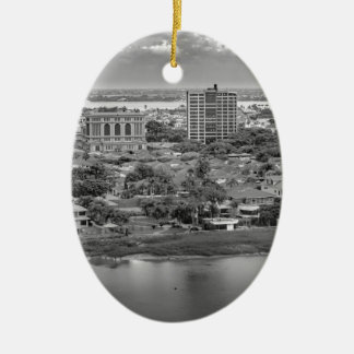 Guayaquil Aerial View from Window Plane Ceramic Oval Ornament