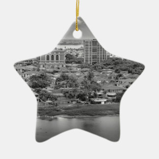 Guayaquil Aerial View from Window Plane Ceramic Star Ornament