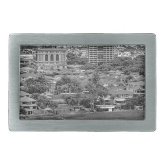 Guayaquil Aerial View from Window Plane Rectangular Belt Buckles