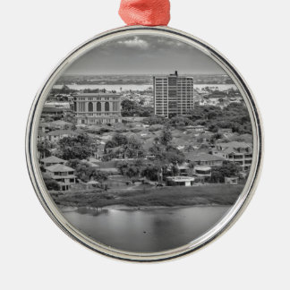 Guayaquil Aerial View from Window Plane Silver-Colored Round Ornament