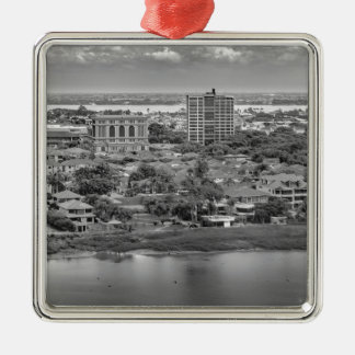 Guayaquil Aerial View from Window Plane Silver-Colored Square Ornament
