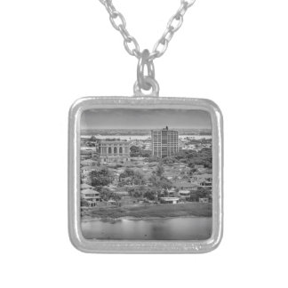 Guayaquil Aerial View from Window Plane Silver Plated Necklace