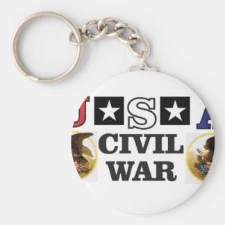 guerre civile blanche et bleue rouge porte-clé rond