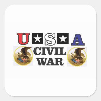 guerre civile blanche et bleue rouge sticker carré