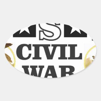 guerre civile blanche et bleue rouge sticker ovale