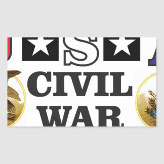guerre civile blanche et bleue rouge sticker rectangulaire