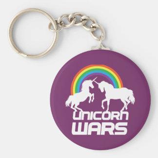 Guerres de licorne avec l'arc-en-ciel porte-clé rond