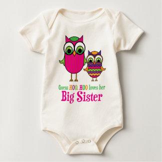 Guess Hoo Hoo Love Her Big Sister Owls Baby Bodysuit