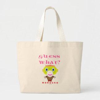 Guess What-Cute Monkey-Morocko Large Tote Bag