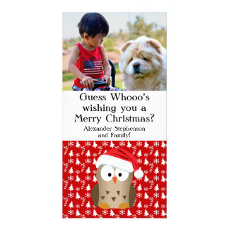 Guess Whoo Christmas Owl with Santa Hat Card