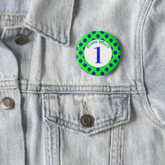 Guess Who's...Birthday Button (Blue Polka Dots)