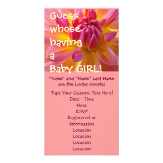 Guess whose having a Baby Girl! Shower invitations Customized Photo Card