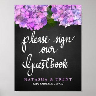 Guest Book Chalkboard Wedding Hydrangea Floral