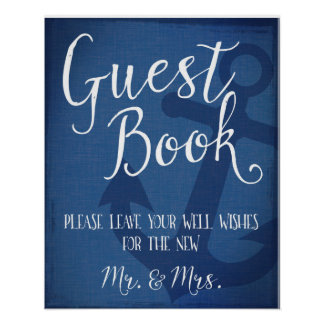 Guest book nautical wedding anchor sign poster