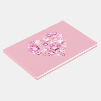 Guest Book-Pink Jeweled Heart Guest Book