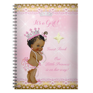Guest Book Princess Baby Shower Pink Ethnic Girl Notebook