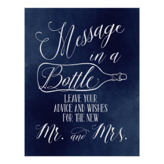 Guest Book sign - Message in a bottle - Navy Poster