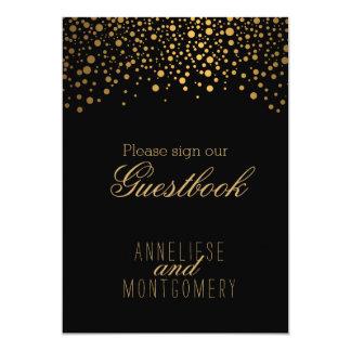 """Guest Book Sign - Stylish Gold Confetti 5"""" X 7"""" Invitation Card"""