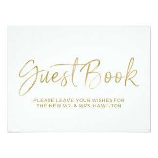 Guest Book Wedding Sign | Stylish Gold Lettered Card